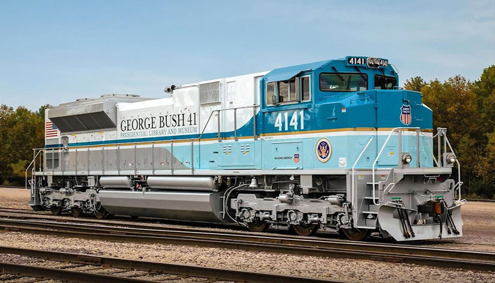 The locomotive number 4141 will transport the body of George H.W. Bush, the 41st president of the United States.