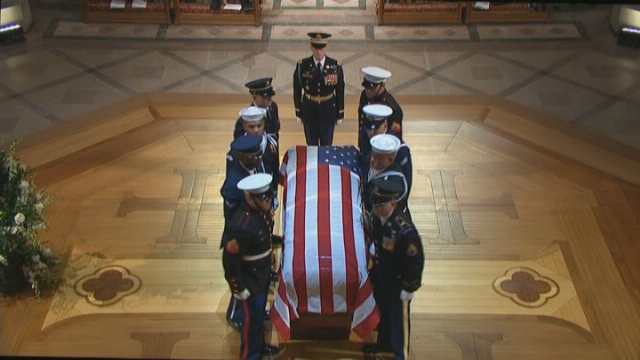 The casket of George H.W. Bush, the 41st president of the United States, arrived at Washington National Cathedral on Wednesday. (Source: CNN)