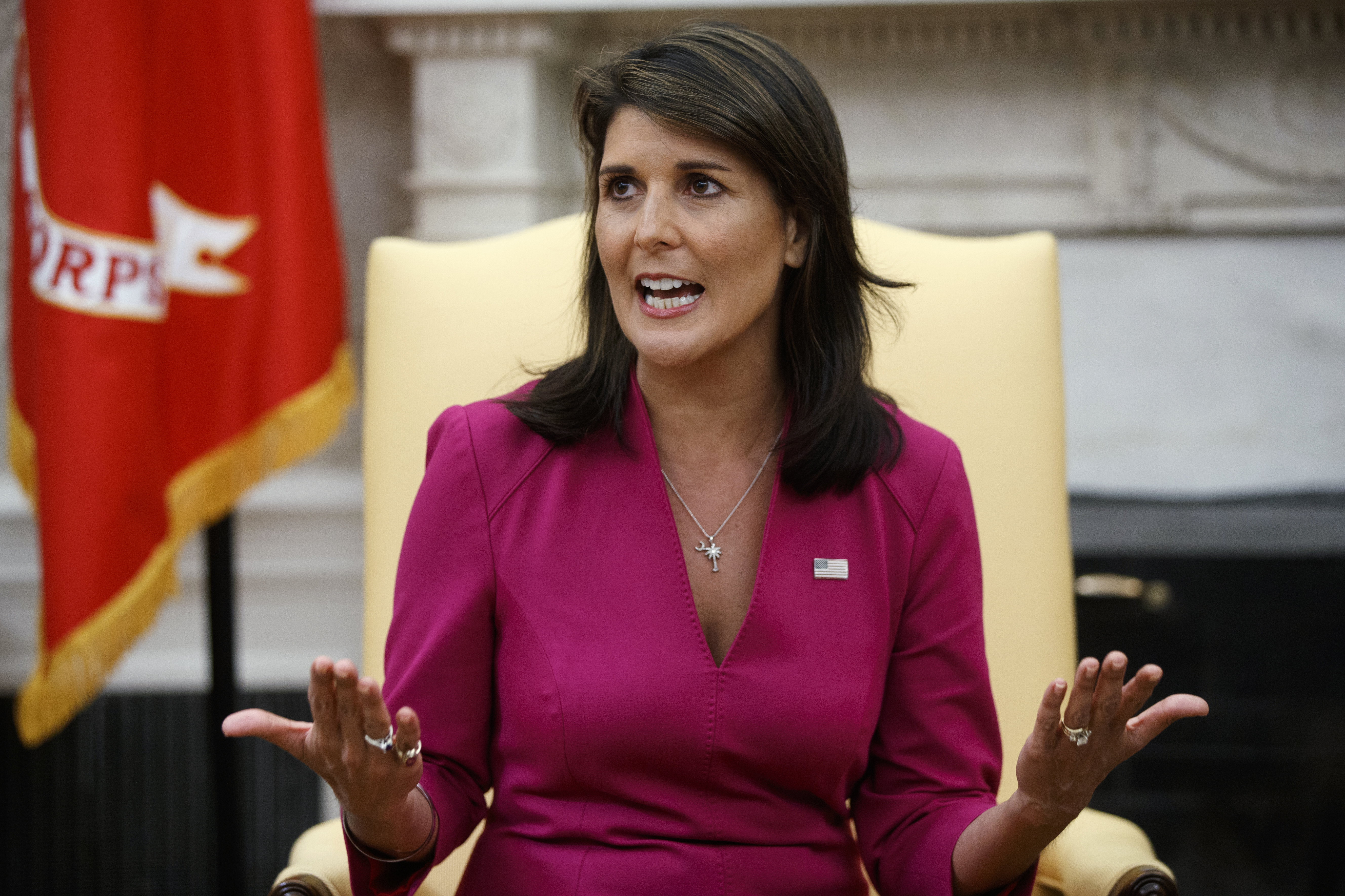 Nikki Haley - The outgoing U.S. Ambassador to the United Nations announced Tuesday, Oct. 9, that she was leaving the post at the end of the year during a meeting with President Donald Trump in the Oval Office. (AP Photo/Evan Vucci)