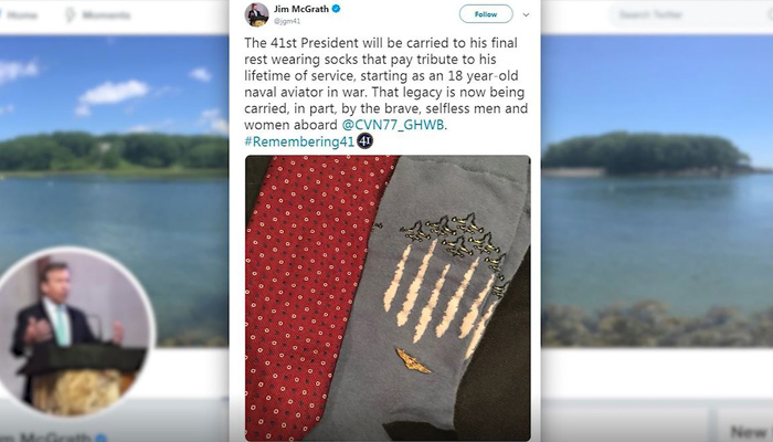 George H.W. Bush will wear in his final repose colorful socks that pay tribute to his lifetime of service, starting as an 18-year-old Naval aviator during World War II. The 41st president of the U.S. is being remembered after passing away Friday.