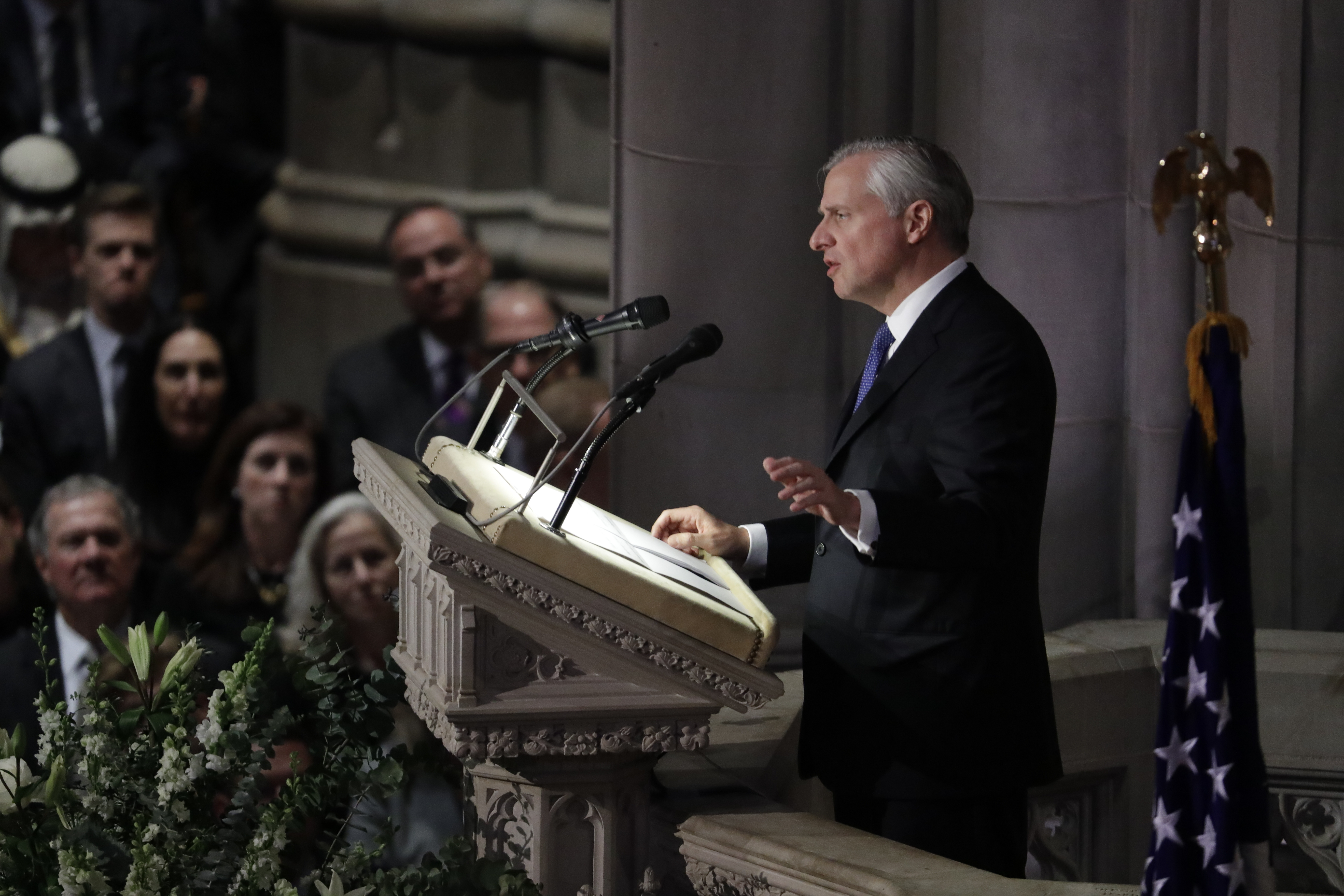 Presidential biographer Jon Meacham speaks during the State Funeral for former President George H.W. Bush at the National Cathedral, Wednesday, Dec. 5, 2018, in Washington. (AP Photo/Evan Vucci)