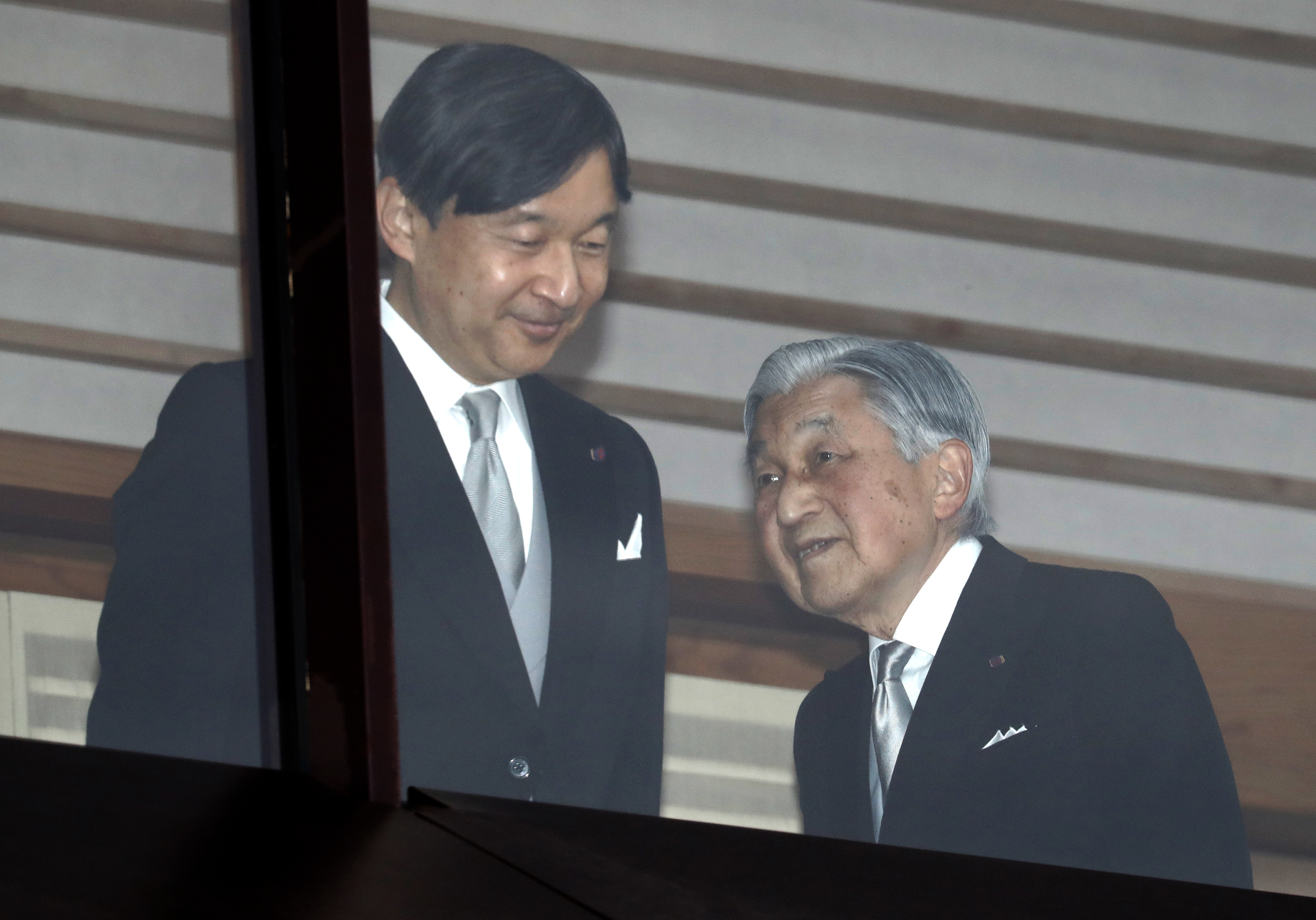 Waves Japans Emperor Akihito Right Accompanied By Crown Prince Naruhito Left