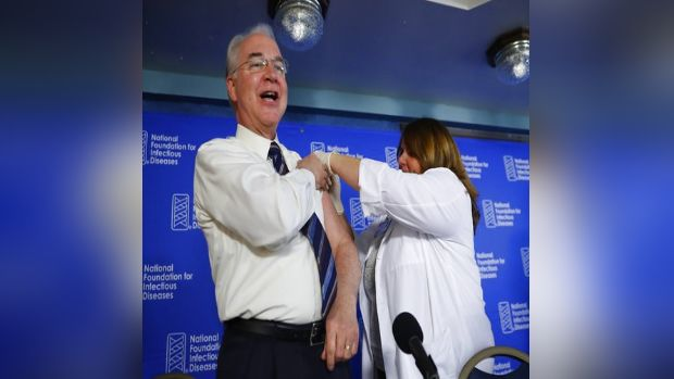 Tom Price - The former Health and Human Services Secretary, left, is shown receiving a flu vaccination from Sharon Walsh-Bonadies, RN, right, during a news conference recommending everyone age six months and older be vaccinated against influenza each year, on Sept. 28, 2017, in Washington. Amid a scandal over costly charter plane travel, Price resigned as health and human services secretary on Sept. 29, 2017. (AP Photo/Pablo Martinez Monsivais)