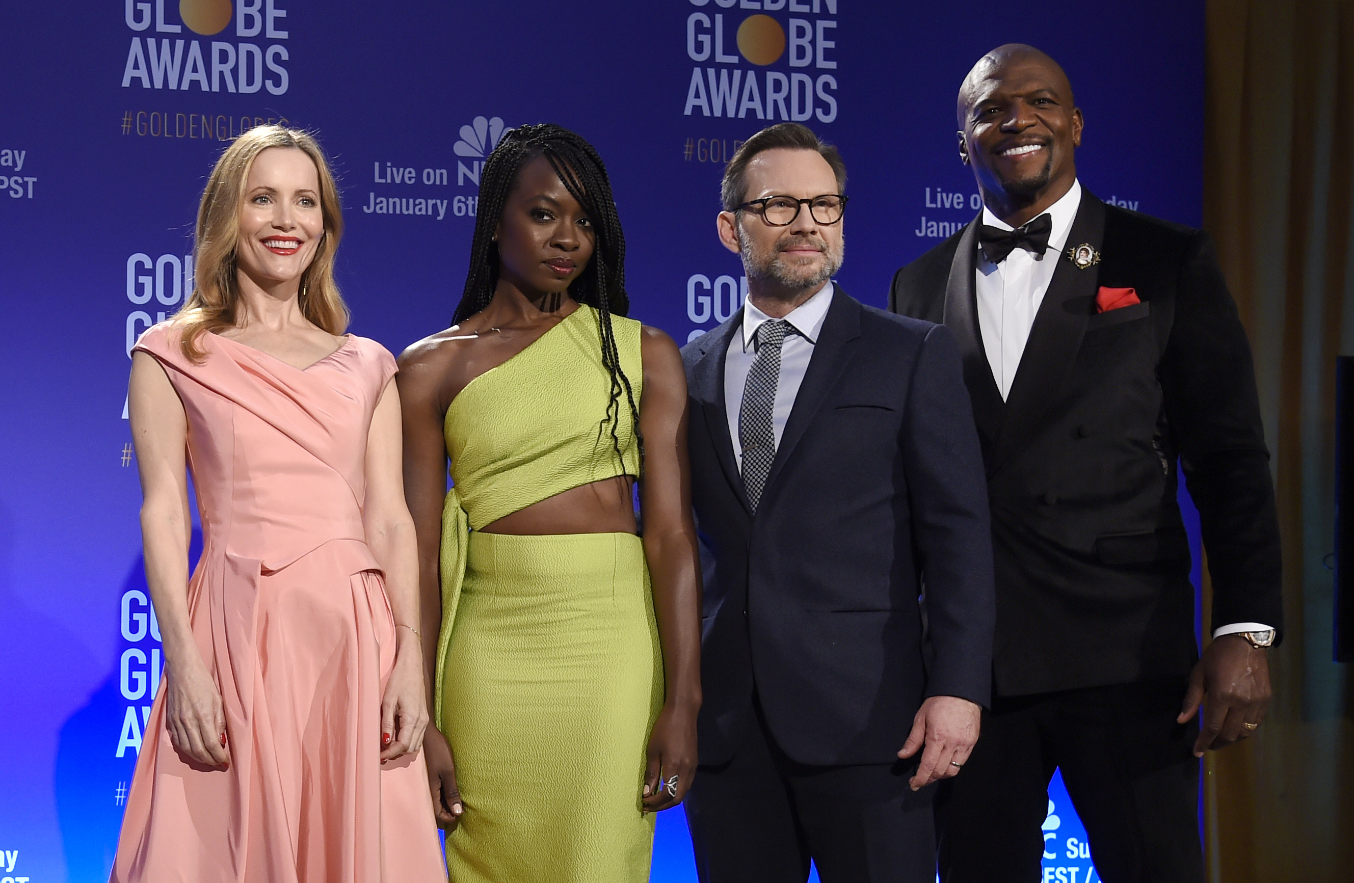 Leslie Mann, from left, Danai Gurira, Christian Slater and Terry Crews pose following the nominations for the 76th Annual Golden Globe Awards at the Beverly Hilton hotel on Thursday, Dec. 6, 2018, in Beverly Hills, Calif. The 76th annual Golden Globe Awards will be held on Sunday, Jan. 6, 2019. (Photo by Chris Pizzello/Invision/AP).