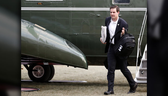 John McEntee - The White House aide, shown here in a March 2017 file photo, was escorted out of the White House on March 12, 2018, over what was called an undisclosed security issue, the Wall Street Journal reported on March 13. It turns out McEntee was under investigation by the Department of Homeland Security over alleged serious financial crimes. (AP Photo/Alex Brandon)