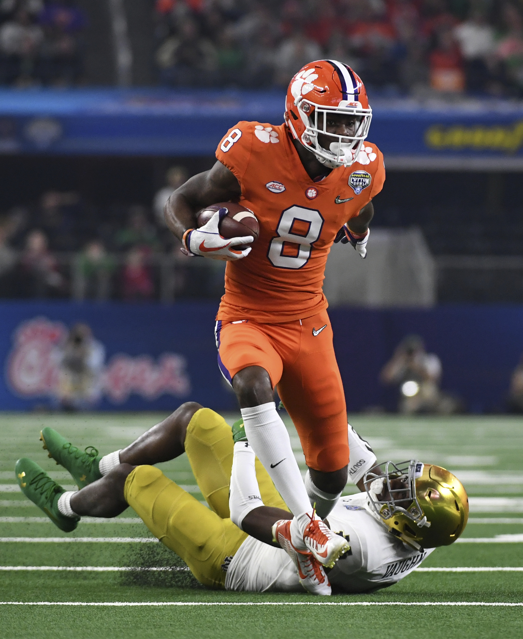 Clemson wide receiver Justyn Ross (8) catches a long in front of Clemson cornerback A.J. Terrell (8) in the first half of the NCAA Cotton Bowl semi-final playoff football game, Saturday, Dec. 29, 2018, in Arlington, Texas. (AP Photo/Jeffrey McWhorter)