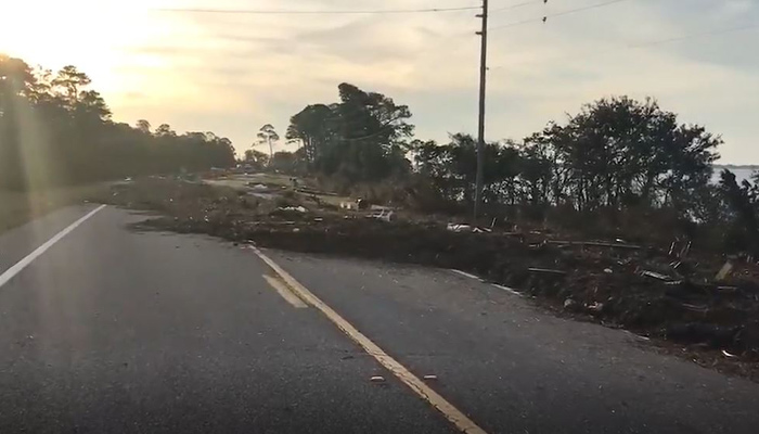 Debris blocks U.S. Highway 98 in the Florida Panhandle in the wake of Hurricane Michael. (Source: WAWS/WFOX/WJAX/CNN)