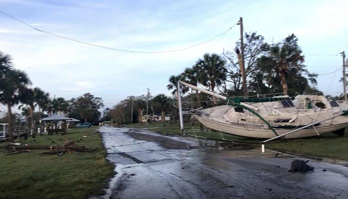 The power of Hurricane Michael threw a sailboat into a neighborhood in Apalachicola, FL. Source: CNN)