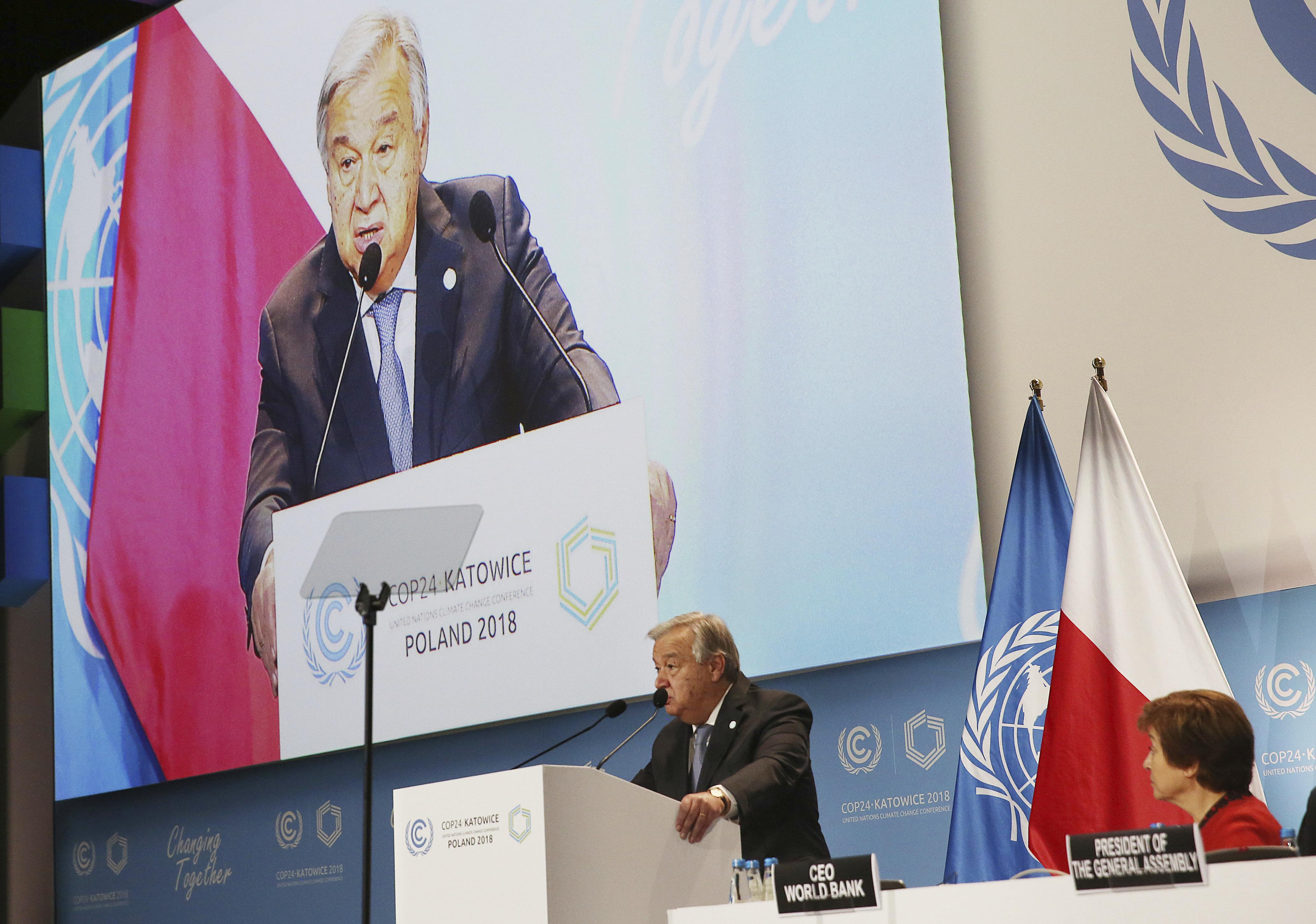 UN Secretary General Antonio Guterres delivers a speech WLduring the opening of COP24 UN Climate Change Conference 2018 in Katowice, Poland, Monday, Dec. 3, 2018.(AP Photo/Czarek Sokolowski)
