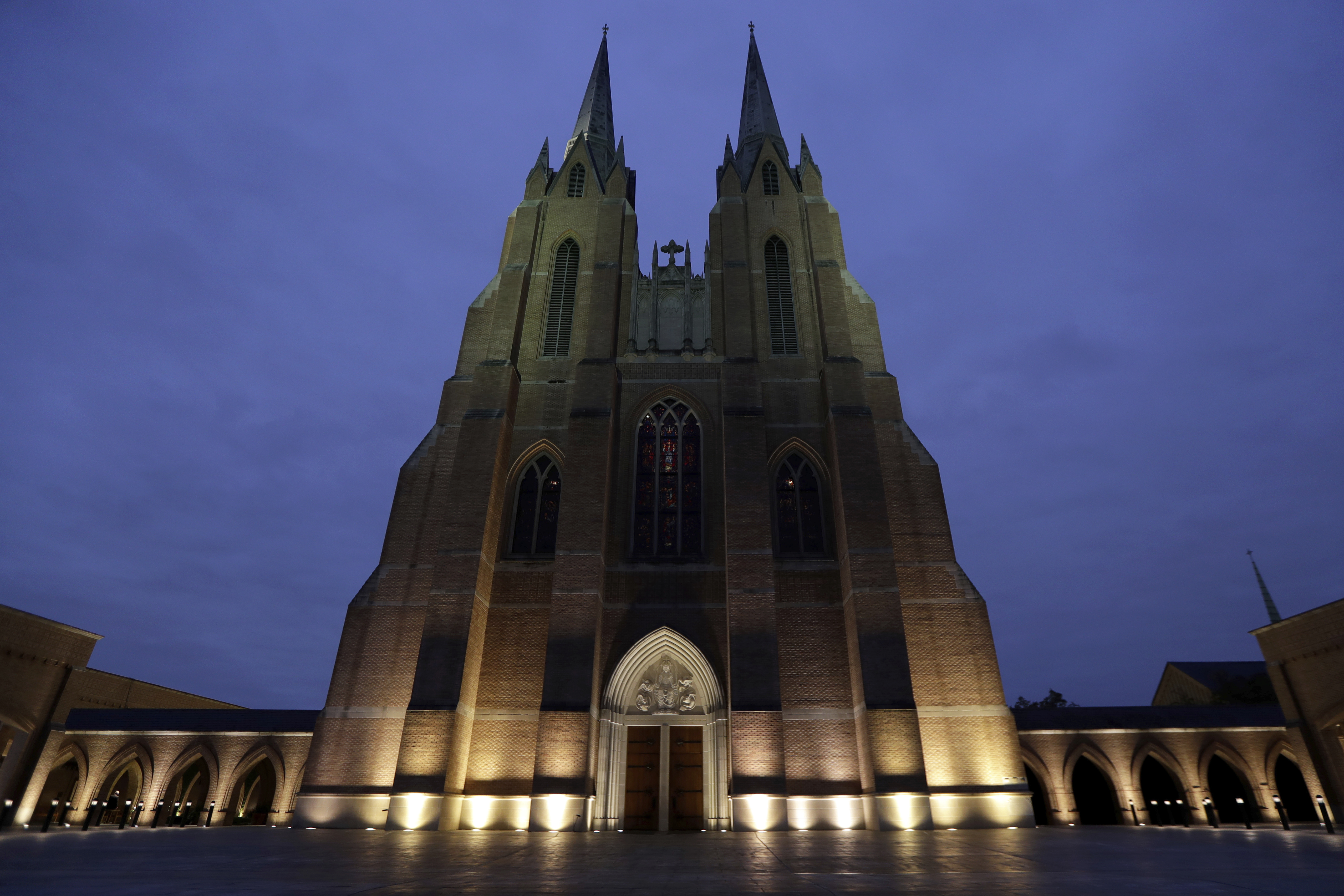 St. Martin's Episcopal Church awaits for the State Funeral for former President George H.W. Bush Thursday, Dec. 6, 2018, in Houston. (AP Photo/Mark Humphrey)