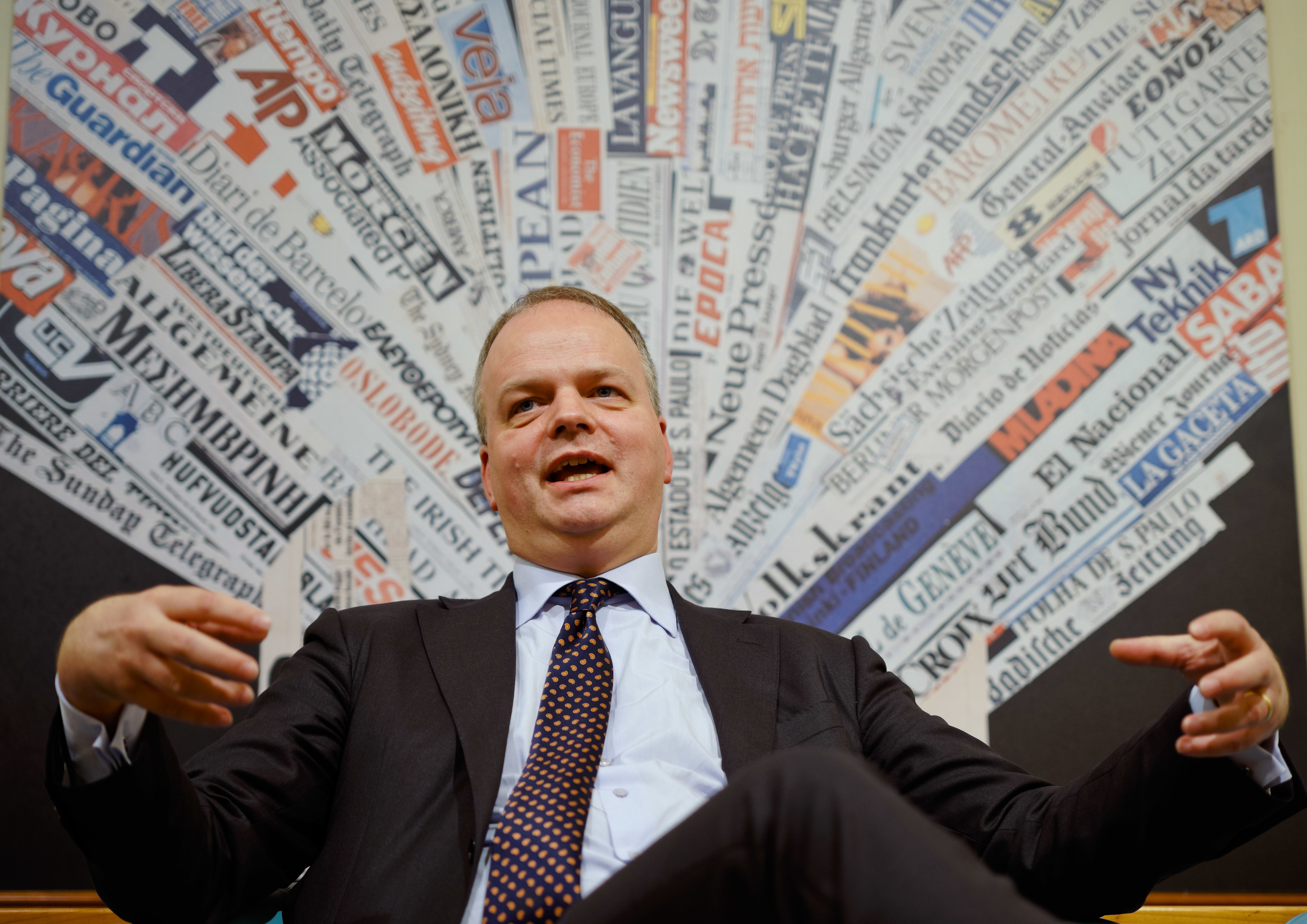 German art historian and director of the Uffizi galleries, Eike Schmidt, poses for portraits at the foreign press club in Rome, Wednesday, Dec. 5, 2018. The Uffizzi Galleries in Florence aims to discourage visitor overcrowding and ticket scalpers. Director Like Schmidt says Italy's most-visited art museum is meeting with Italian privacy guarantors to devise ways to use purchasers' photos to thwart scalpers looking to resell tickets at exorbitant prices. (AP Photo/Domenico Stinellis)