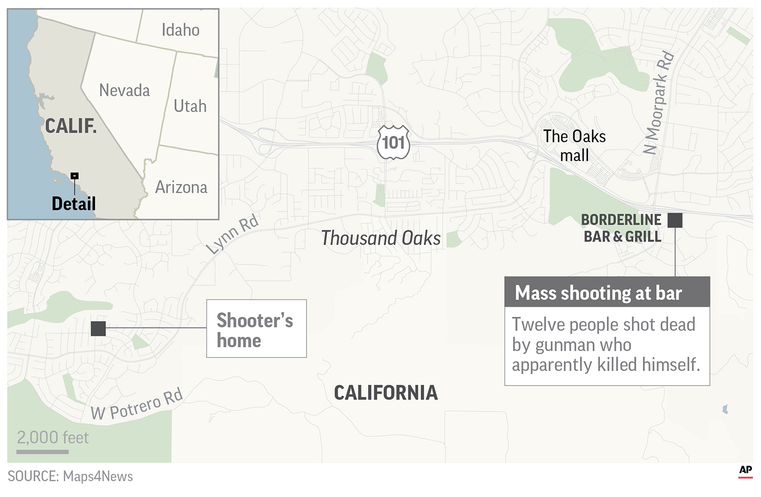 Map locates the site of the mass shooting at Borderline Bar and Grill and the shooter's home;; 3c x 3 1/8 inches; 146 mm x 79 mm;