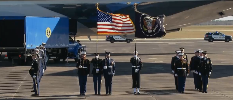 Former President George H.W. Bush's casket departs from Houston en route to Washington D.C. for his final tour.