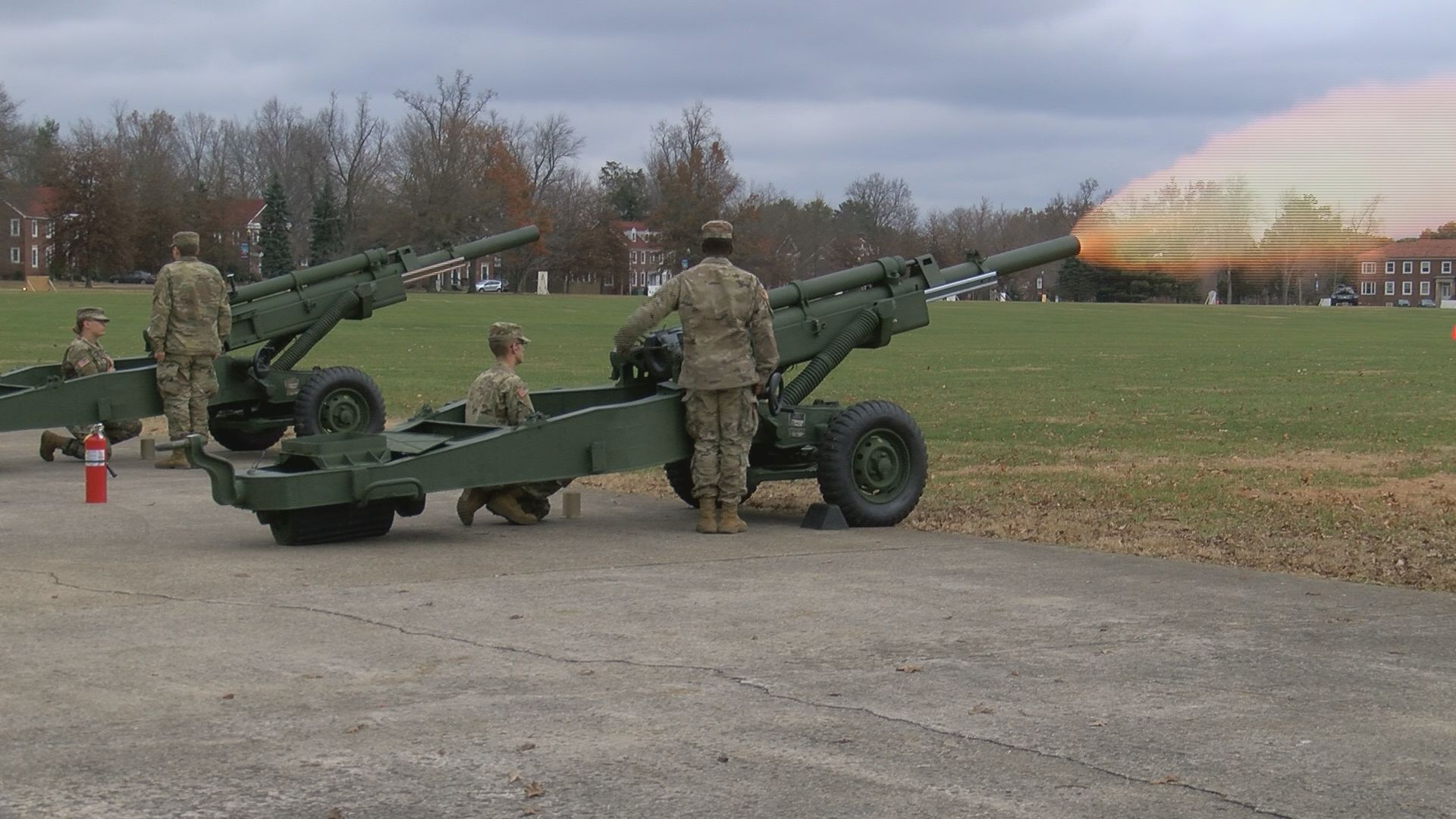 Fort Knox honors the life of former president George H.W. Bush by firing off cannons every 30 minutes on Monday.