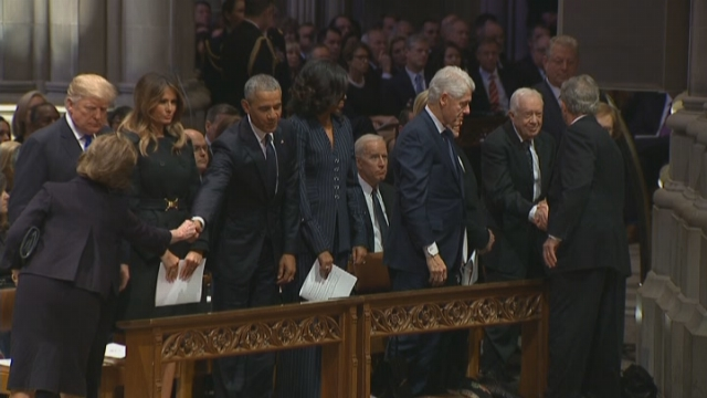 President George W. Bush shakes hands with President Jimmy Carter at the funeral of President George H.W. Bush on Wednesday. (Source: CNN)