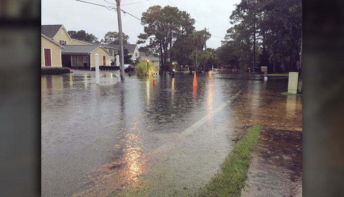 Roads in Shalimar, FL, are flooded on Wednesday morning well ahead of the Category 4 storm's landfall in the Florida Panhandle.