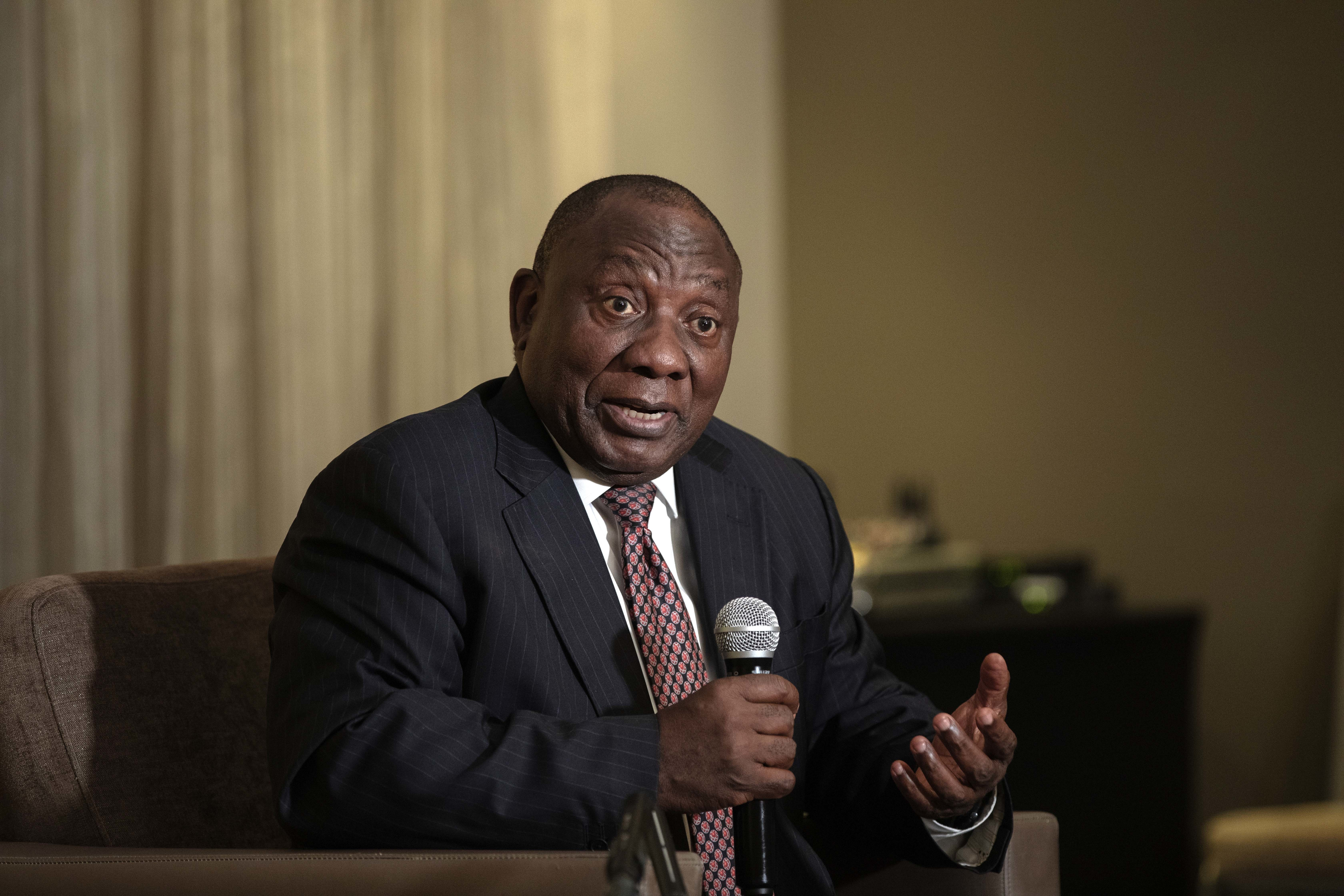 South African President Cyril Ramaphosa addresses members of the Foreign Correspondents Association in Johannesburg, Thursday, Nov. 1, 2018. Ramaphosa said his country has survived a