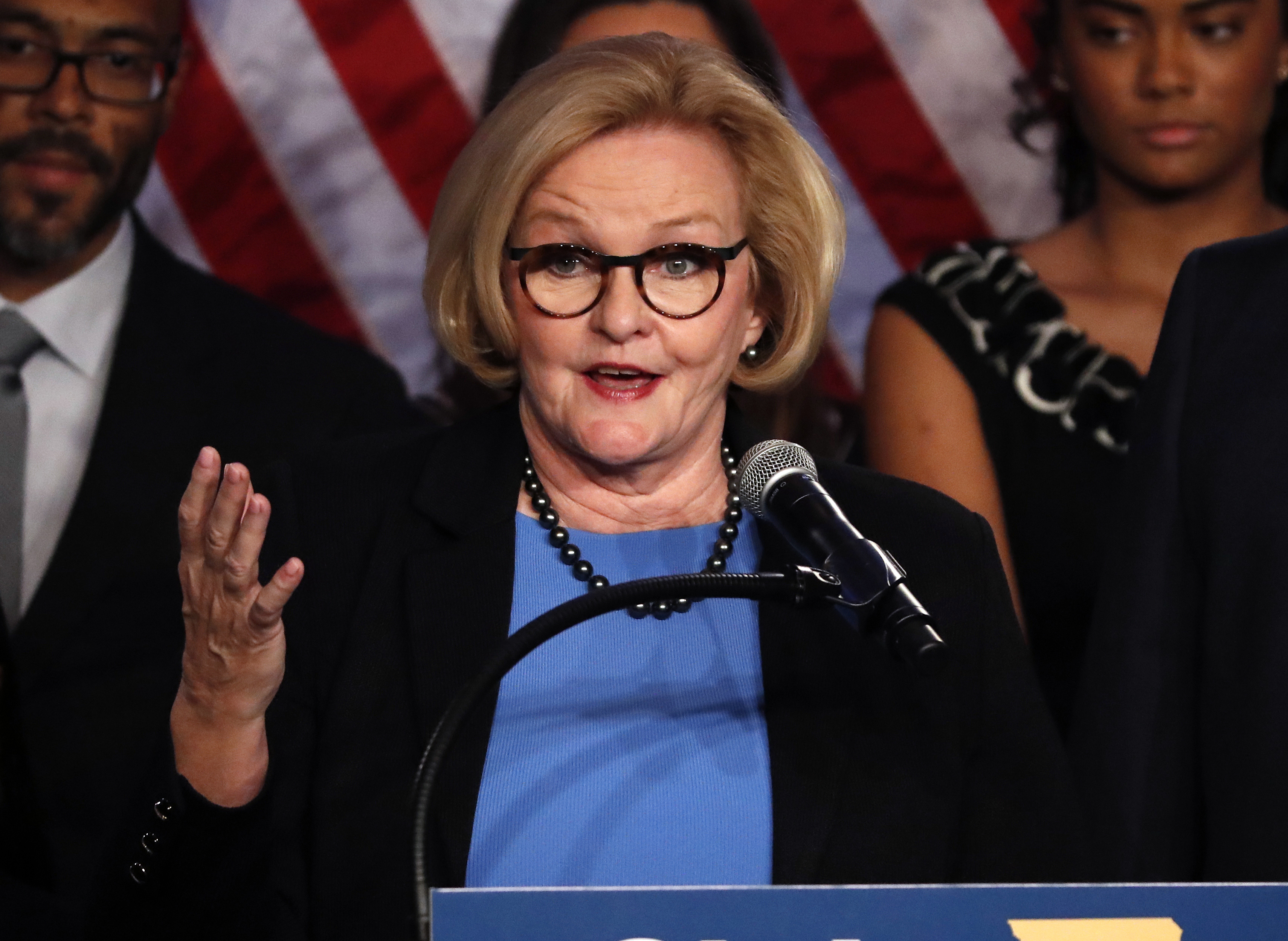 Sen. Claire McCaskill, D-Mo., delivers a concession speech Tuesday, Nov. 6, 2018, in St. Louis. McCaskill has conceded defeat to Republican challenger Josh Hawley in her bid for a third term. (AP Photo/Jeff Roberson)