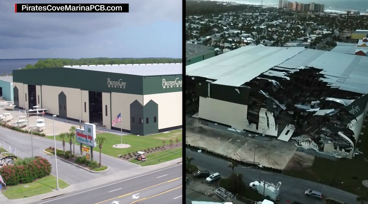 A before-and-after shot shows the extensive damage to Pirates Cove Marina in Panama City Beach, FL, after Hurricane Michael tore through.