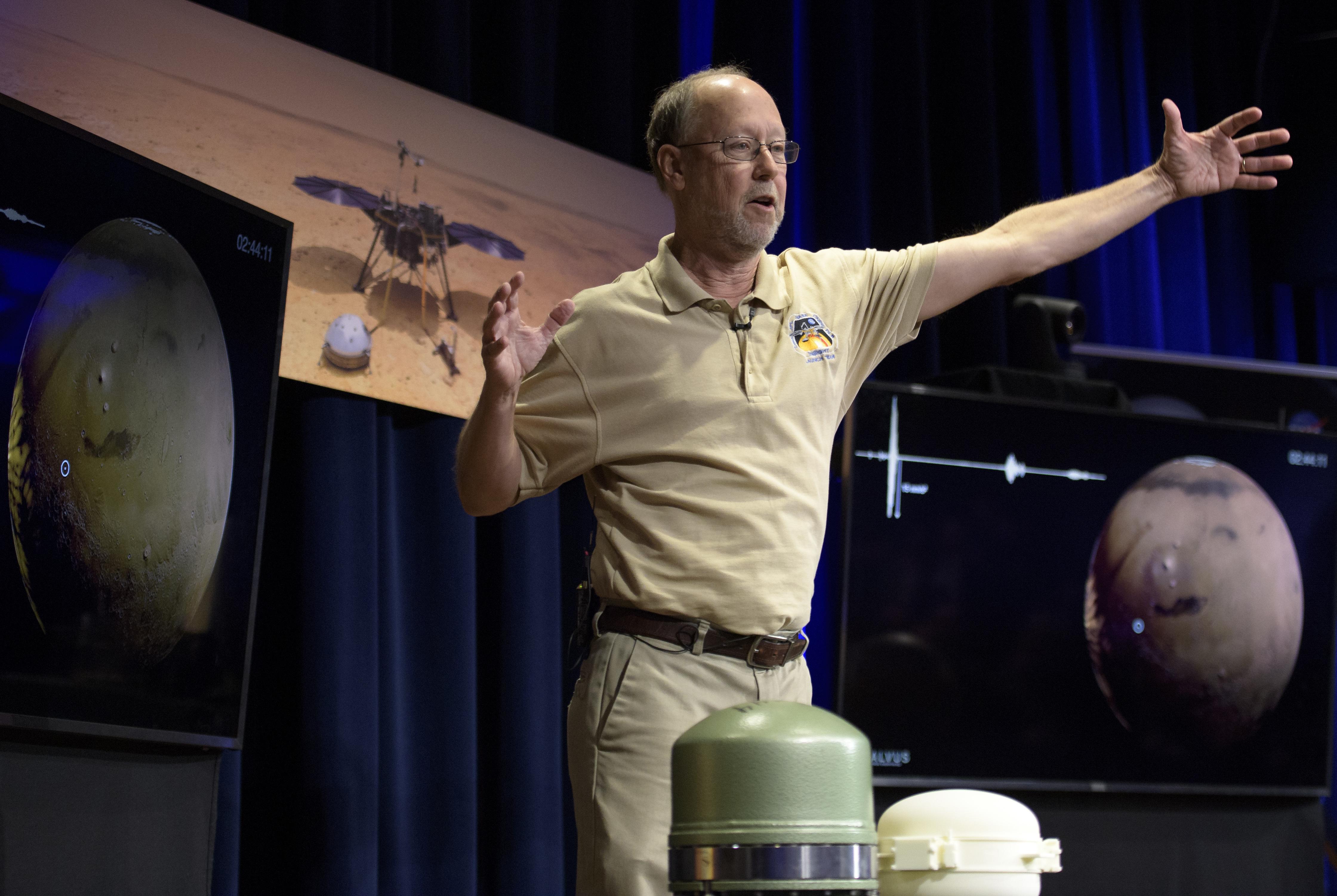 Bruce Banerdt, InSight Principal Investigator, NASA JPL, talks about Mars InSight during a pre-landing briefing, Sunday, Nov. 25, 2018 at NASA's Jet Propulsion Laboratory in Pasadena, Calif. InSight, short for Interior Exploration using Seismic Investigations, Geodesy and Heat Transport, is a Mars lander designed to study the