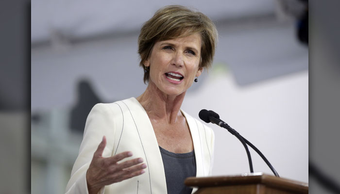 Sally Yates - The acting attorney general as Trump entered office, she was let go in January 2017 for refusing to enforce the travel ban, saying it wasn't legal. (AP Photo/Steven Senne, File)